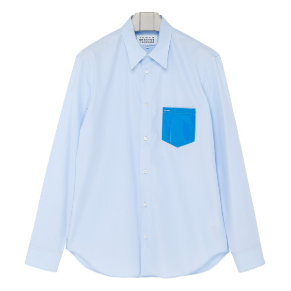 Contrast-pocket light blue cotton shirt