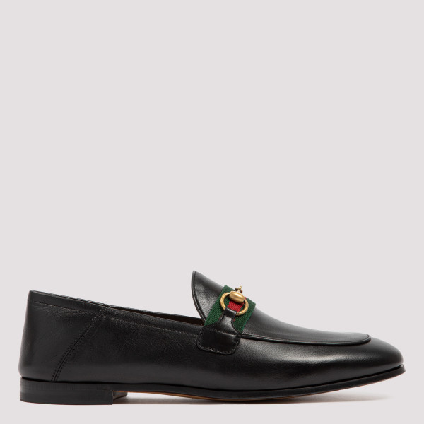 Black Leather Horsebit Loafers