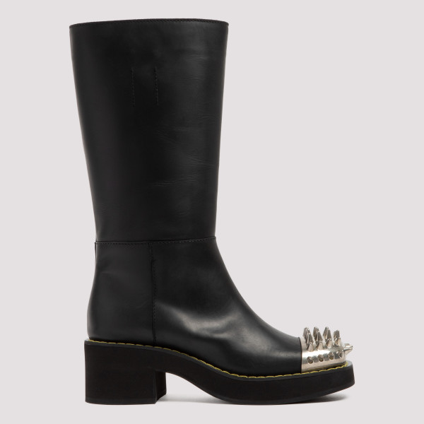 Black leather studded boots