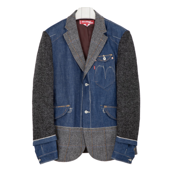 Hybrid denim and wool blazer