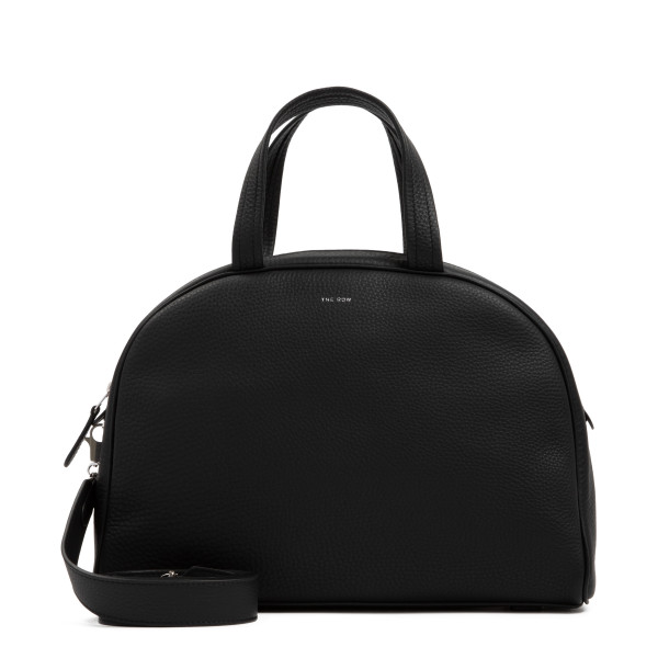Black grained leather bowling bag