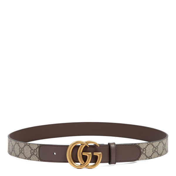 GG Supreme fabric and leather belt