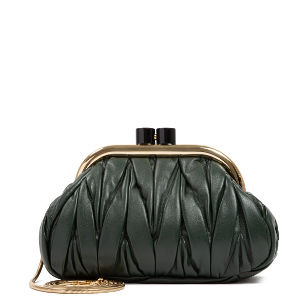 Belle emerald green nappa leather clutch