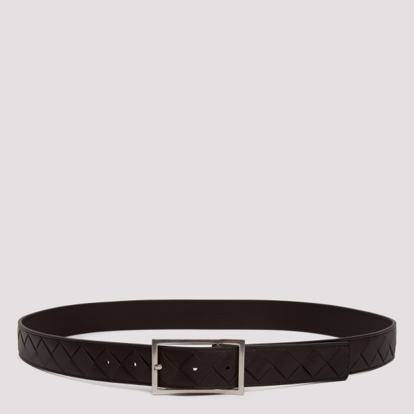 Brown intrecciato leather belt