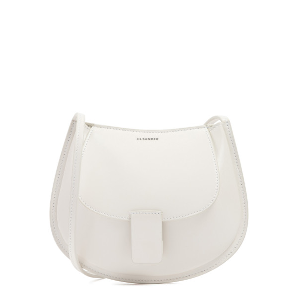 Natural white Crescent small leather bag