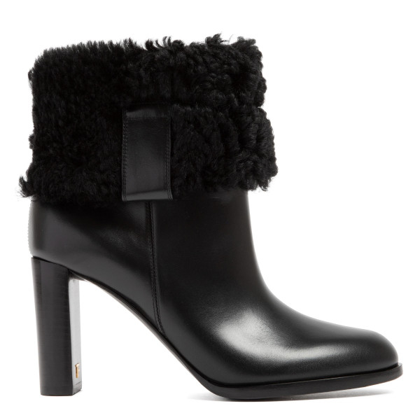 Black shearling booties