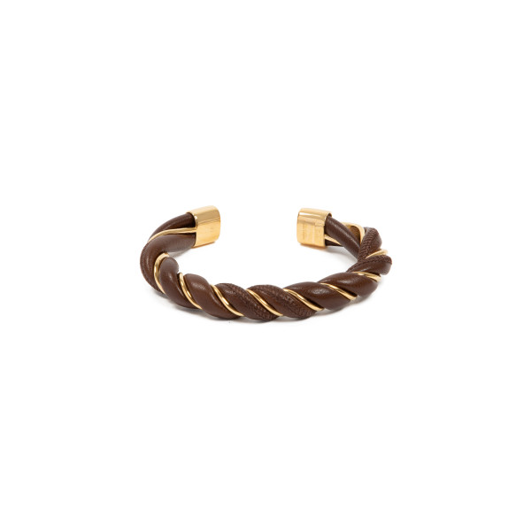 Brown nappa and silver spiral bracelet