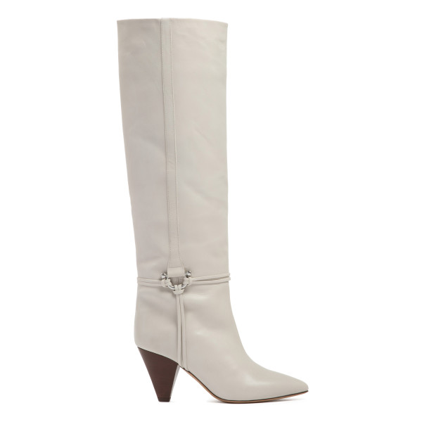 Learl white leather boots