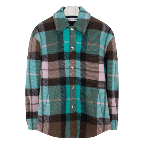 Turquoise and brown Ocilia Blanket check shirt