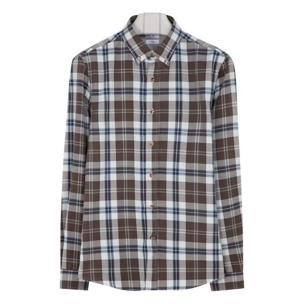 Brown and blue check button down shirt
