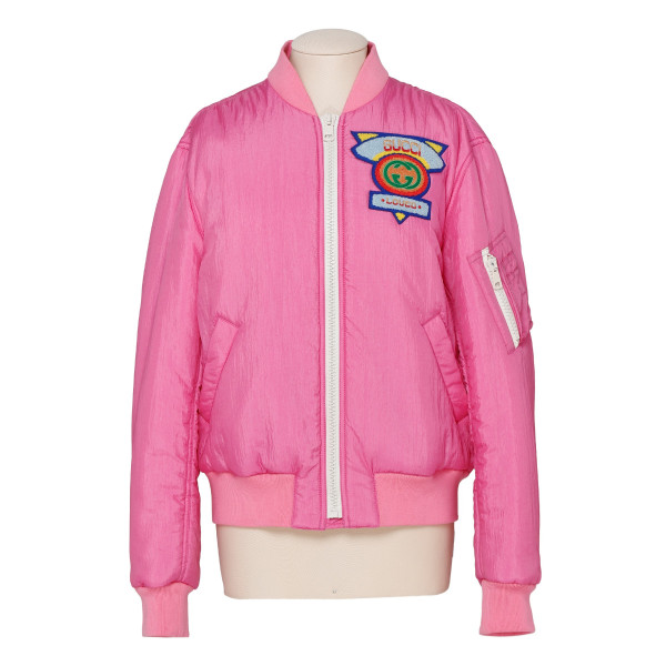 Pink bomber jacket with logo