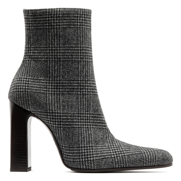 Tweed black and white ankle boots