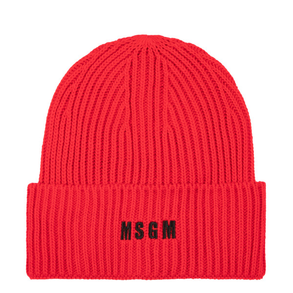 Red ribbed-knit beanie