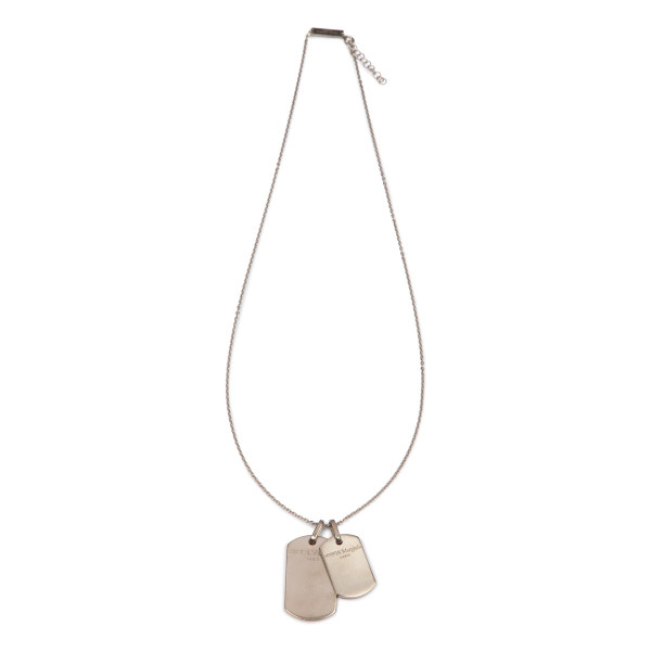 Brushed silver double tag necklace