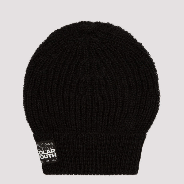 Black wool ribbed beanie