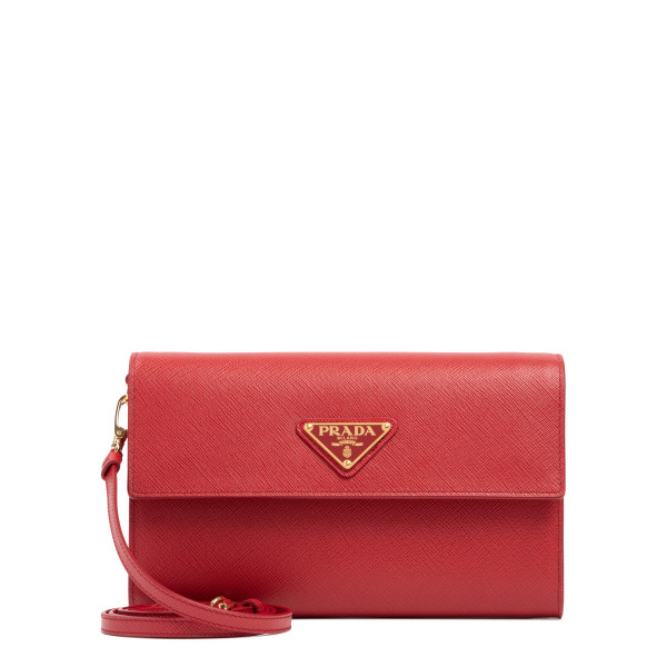 Red leather wallet with shoulder strap