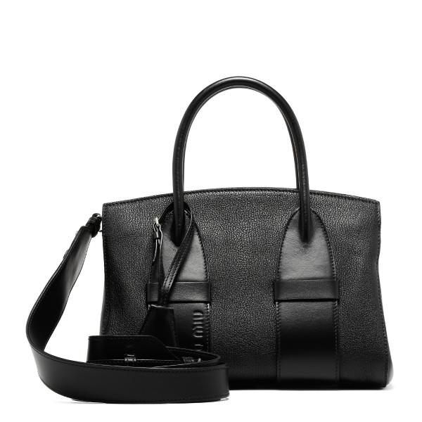 Black madras and smooth leather handbag