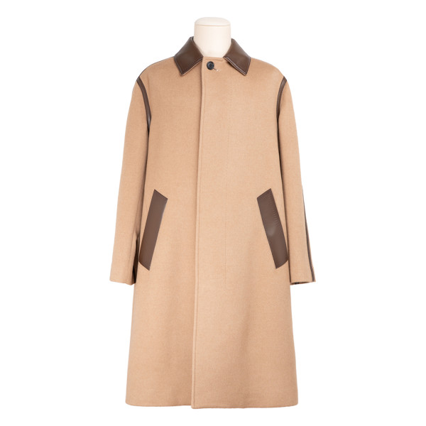 Camel coat with patina leather detailing