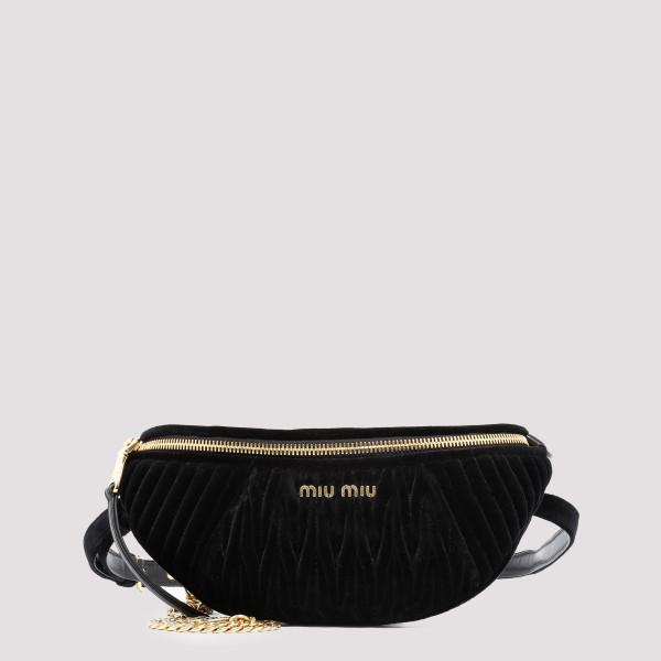 Black matelassé velvet belt bag