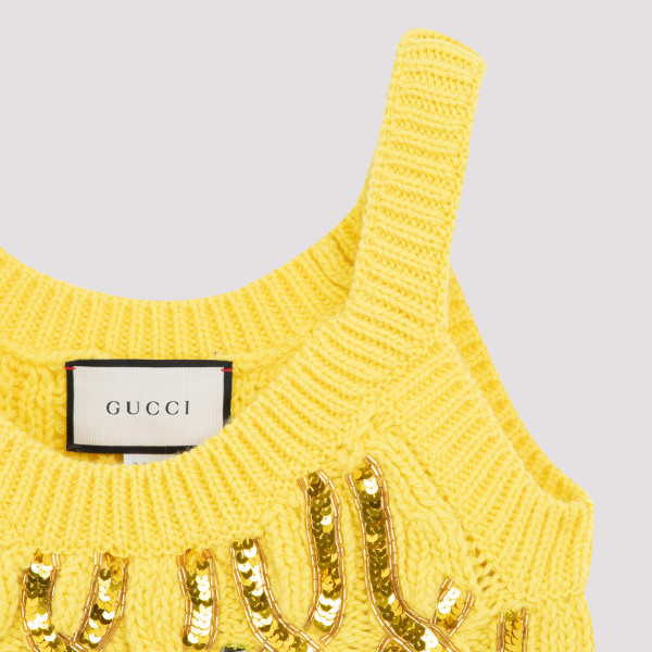 Cable knit wool tank top with sequins