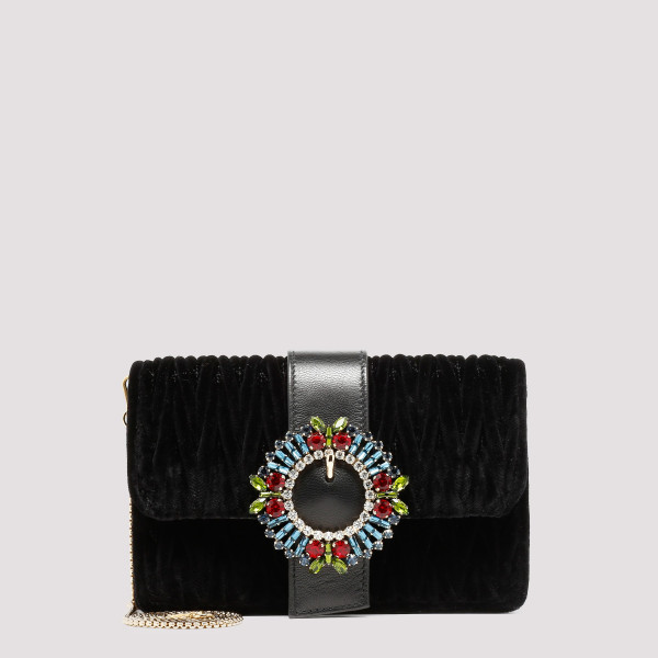 Black matelassé velvet bag