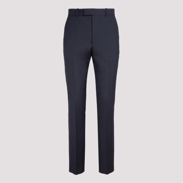 Navy wool-blend tailored pants