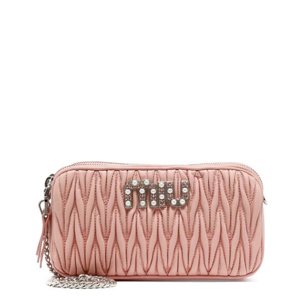 Pink matelassé shoulder bag