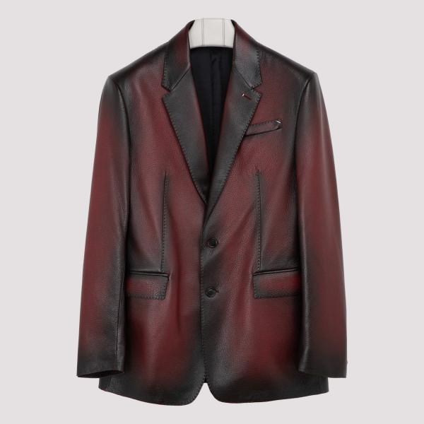 Grain patina leather jacket