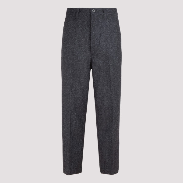 Gray melange wool blend pants