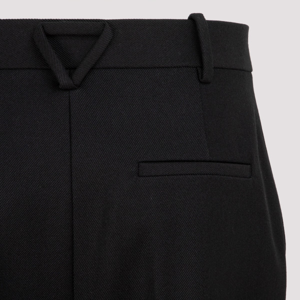 Black technical wool twill pants