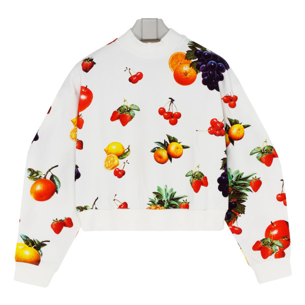 White sweatshirt with fruits print