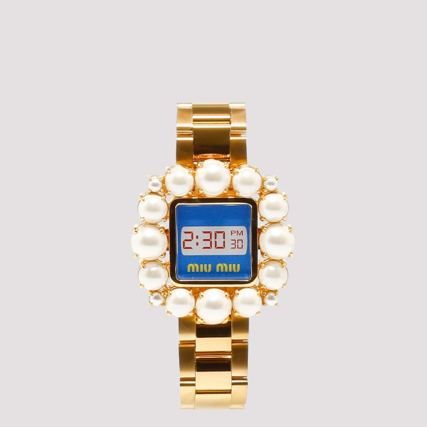 Golden metal bracelet with crystals