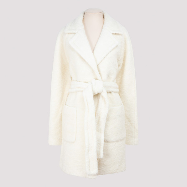 Ganni WHITE BOUCLÉ WOOL COAT