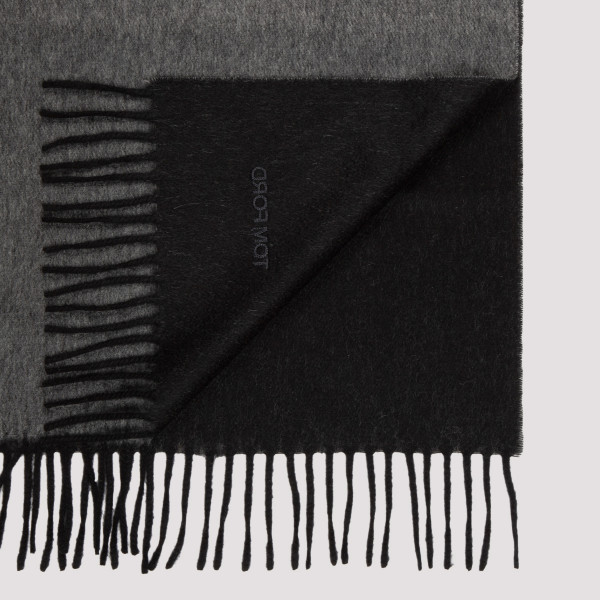 Gray cashmere scarf with logo