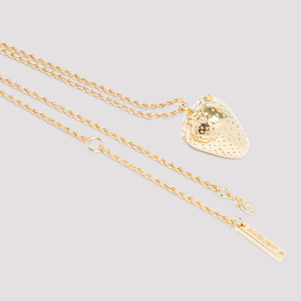 Golden-tone Strawberry charm necklace