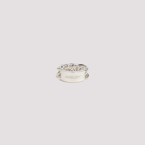 Silver chain link ring