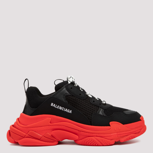 BALENCIAGA TRIPLE S BLACK AND RED SNEAKERS