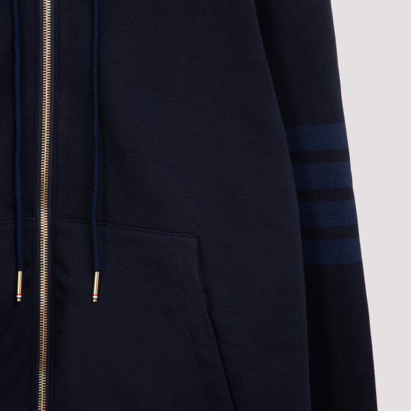RELAXED FIT ZIP UP HOODIE IN TONAL 4 BAR