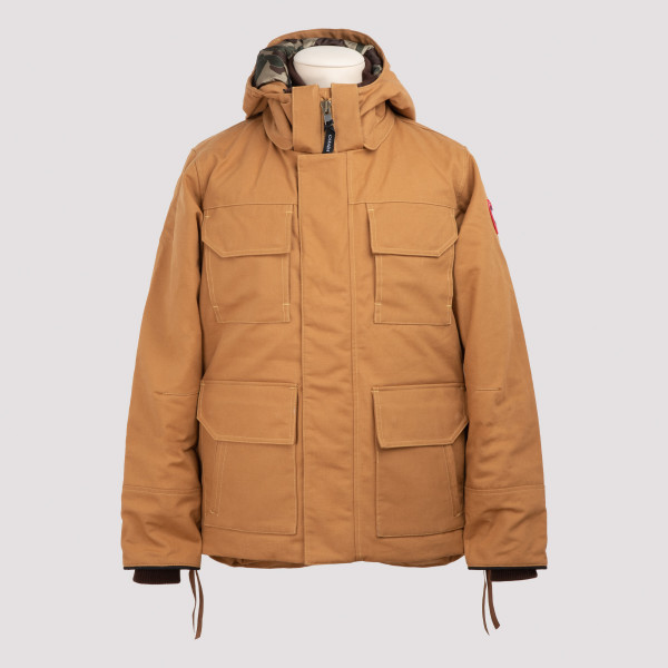 Hooded down-filled cotton coat