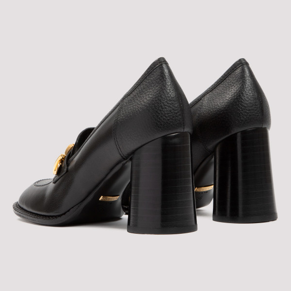 Sylvie black loafers with chain
