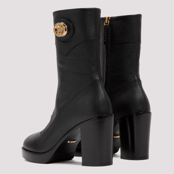 Rosie GG black leather booties