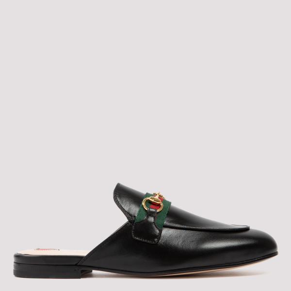 GUCCI PRINCETOWN BLACK LEATHER FLAT MULES
