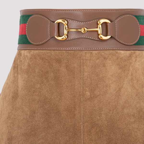 Gucci brown suede leather skirt