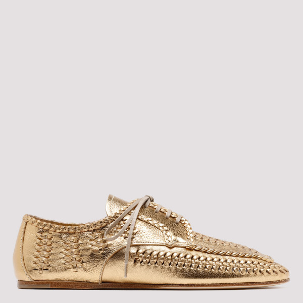 Golden lace-up loafers