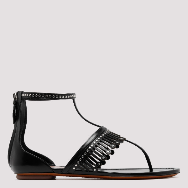 Black leather fringed flat...