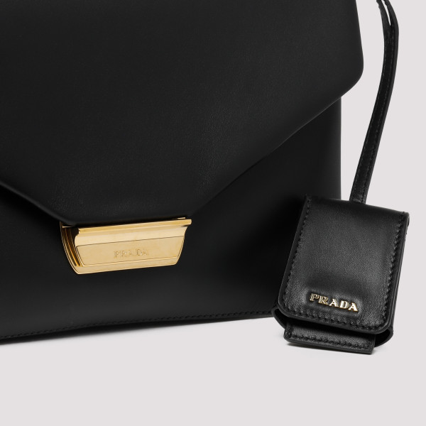 Black leather Flap Shoulder Bag