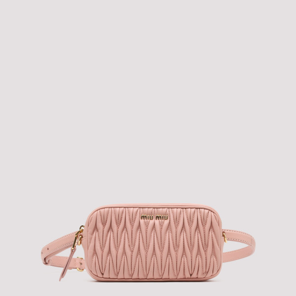 Pink matelassé belt bag