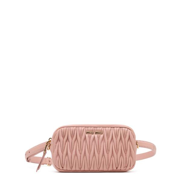 Pink matelassé belt bag