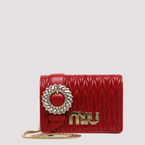 Red matelassé shoulder bag with crystals