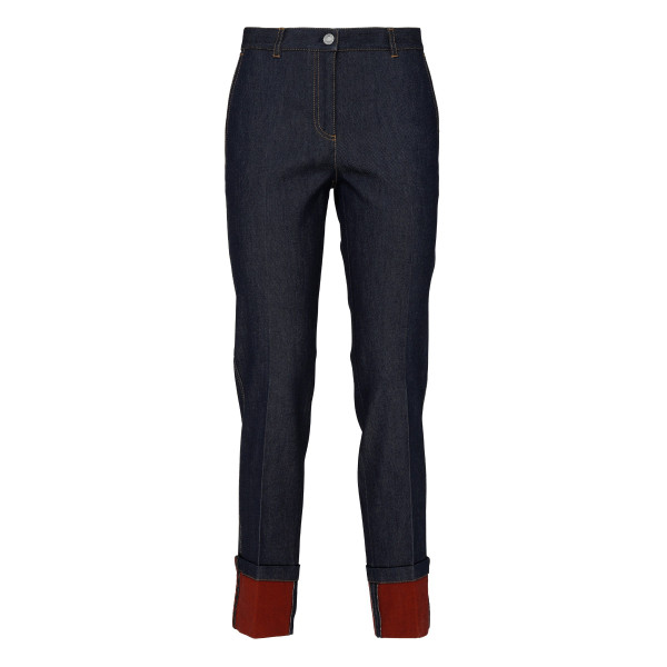Blue denim jeans with folded cuffs